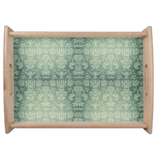 Celery-Green* - Damask-Small_Multi-Functional_ Serving Tray
