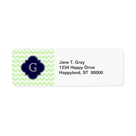 Celery White Chevron Navy Blue Quatrefoil Monogram Return Address Label
