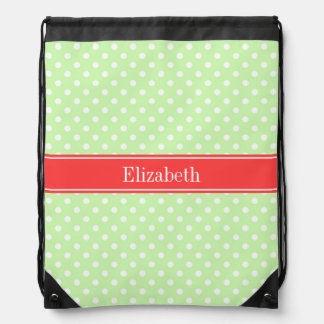 Celery White Polka Dots Coral Name Monogram Drawstring Bag