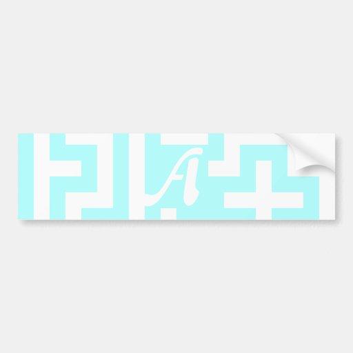 Celeste and White Maze Monogram Bumper Sticker