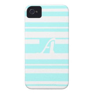 Celeste and White Random Stripes Monogram iPhone 4 Case-Mate Case