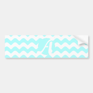 Celeste and White Waves Monogram Car Bumper Sticker