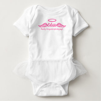 Celeste girls name & meaning angel wings pink baby bodysuit