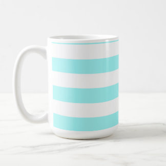 Celeste Horizontal Stripes; Striped Basic White Mug