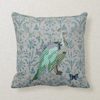 Celeste Peacock & Butterfly Damask Mojo Pillow Throw Cushions
