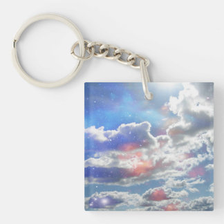 Celestial Clouds Double-Sided Square Acrylic Key Ring