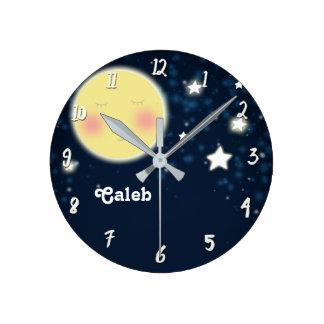 Celestial Glow Moon Nursery Room Personalized Name Round Clock