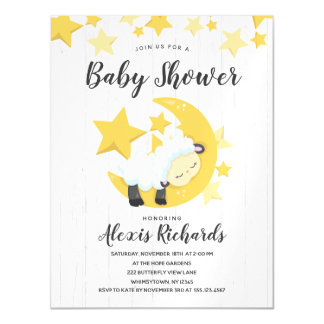 Celestial Moon Stars & Lamb Baby Shower Invitation