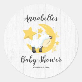 Celestial Moon Stars & Lamb Baby Shower Invitation Classic Round Sticker