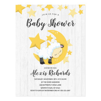 Celestial Moon Stars & Lamb Baby Shower Invitation Postcard