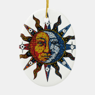 Celestial Mosaic Sun and Moon Ceramic Ornament