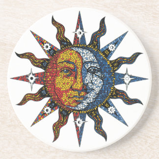 Celestial Mosaic Sun and Moon Coaster