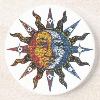 Celestial Mosaic Sun and Moon Coasters