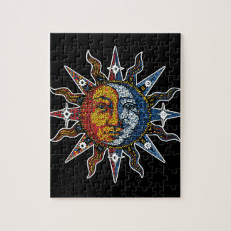 Celestial Mosaic Sun and Moon Jigsaw Puzzle