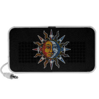 Celestial Mosaic Sun and Moon Laptop Speakers
