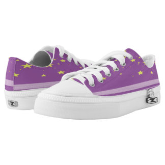 Celestial purple star shoes with lavender streak. printed shoes