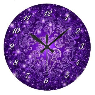 Celestial Purple Swirls & Stars Wall Clock