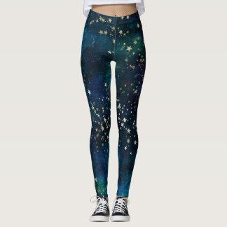 Celestial Sky Gold Stars Leggings