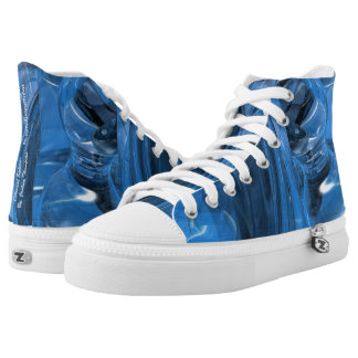Celestial sphere abstract high tops, blue aqua printed shoes