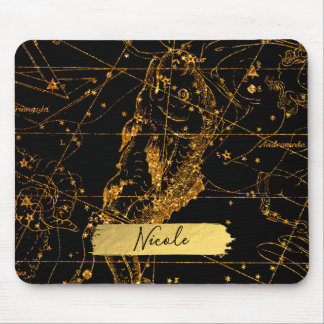 Celestial Star Map Astrological Gold Pisces Fish Mouse Pad