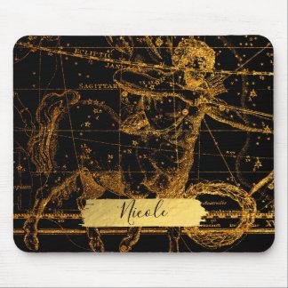 Celestial Star Map Astrological Gold Sagittarius Mouse Pad