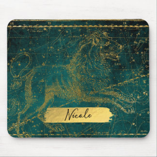 Celestial Star Map Astrological LEO Lion Green Mouse Pad