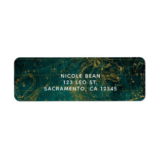 Celestial Star Map Astrological LEO Lion Green Return Address Label