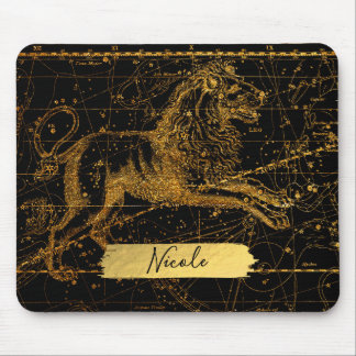 Celestial Star Map Astrological Sign LEO Lion Gold Mouse Pad