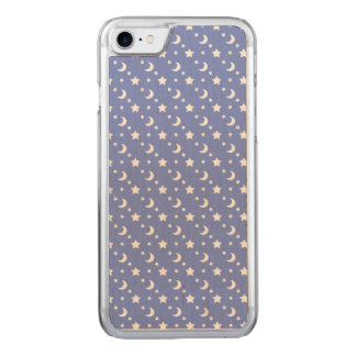 Celestial Stars and Moons Pattern on Blue Carved iPhone 7 Case