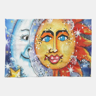 Celestial Sun and Moon Design Tea Towel