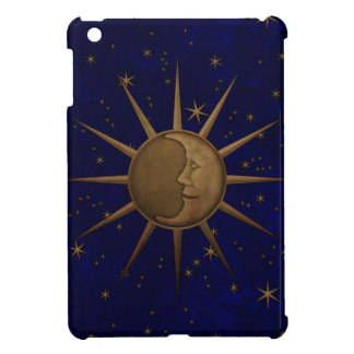 Celestial Sun Moon Brass Bas Relief Graphic iPad Mini Cases