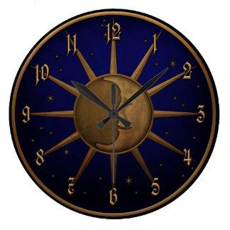 Celestial Sun Moon Brass Bas Relief Graphic Large Clock