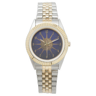 Celestial Sun Moon Brass Bas Relief Graphic Watch