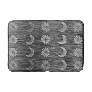 Celestial Sun Moon Graphic Brushed Grey Lines Bath Mat