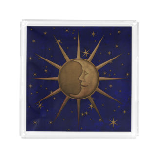Celestial Sun Moon Starry Night Acrylic Tray