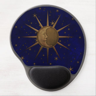 Celestial Sun Moon Starry Night Gel Mouse Pad