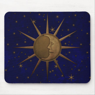 Celestial Sun Moon Starry Night Mouse Pad