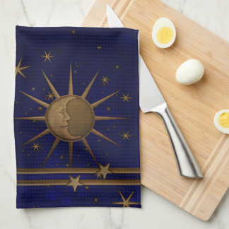 Celestial Sun Moon Starry Night Tea Towel