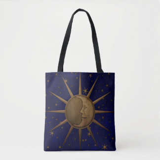 Celestial Sun Moon Starry Night Tote Bag