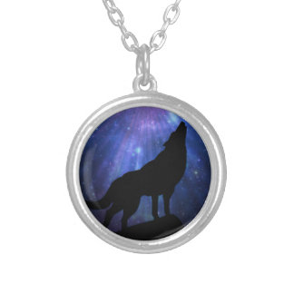 Celestial Wolf Silver Plated Necklace