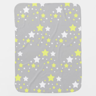 Celestial Yellow White Stars on Grey Gray Baby Blanket