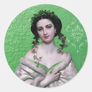 CELIA, 1800s CLASSIC PORTRAIT in GREEN Classic Round Sticker