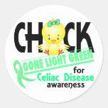 Celiac Disease Chick Gone Light Green 2 Round Stickers