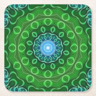 Cell Growth Mandala Square Paper Coaster