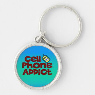 Cell Phone Addict Silver-Colored Round Key Ring