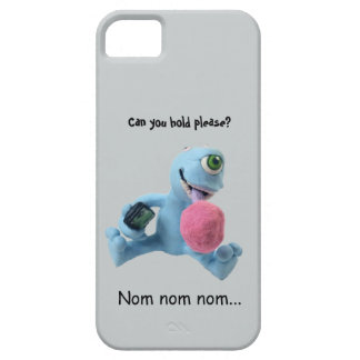 Cell phone case with blue monster and cotton candy