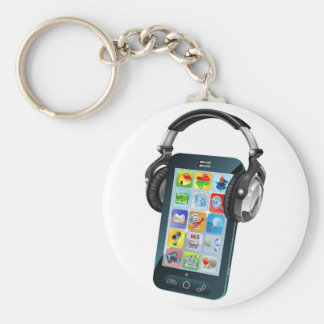 Cell phone wearing headphones key chains