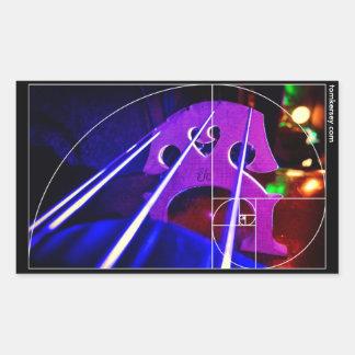 cello bridge and strings with Fibonacci spiral Rectangular Sticker