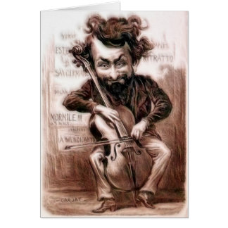 Cello Chops   Vintage Muscian   Wall Art Card