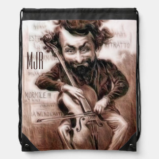 Cello Chops | Vintage Muscian | Wall Art Drawstring Bag